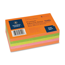 Bus. Source Neon Repostionable Adhesive Notes