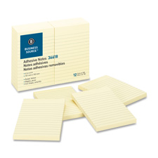 "Adhesive notes, ruled, 4""x6"", 100 sh/pd, 12/pk, yellow, sold as 1 package, 24 pad per package"