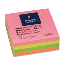 Bus. Source Rainbow Adhesive Note Cubes