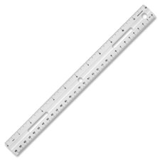 "Plastic ruler, beveled edges, 12""l, white, sold as 1 each"