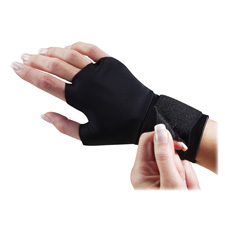 Support gloves, w/ wrist strap, adjustable, medium, black, sold as 1 pair