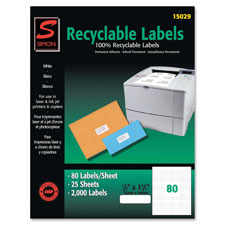"Recyclable labels,address,1-1/3""x4"",1400/bx,white, sold as 1 package, 25 each per package"