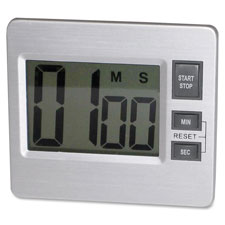 "Digital timer, desk/wall, 3-3/8""x3/4""x3"", silver/black, sold as 1 each"