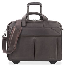 "Rolling laptop case, 17""x7""x13-1/2"", 15.6"" sleeve, brown, sold as 1 each"