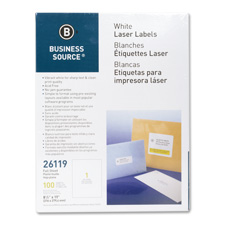"Mailing labels, full sheet, laser 8-1/2""x11"", 100/pk, white, sold as 1 package, 2500 each per package"