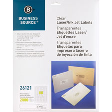 "Laser labels, return address, 1/2""x1-3/4"", 2000/pk, clear, sold as 1 package, 400 each per package"