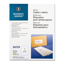 "Full sheet labels, 8-1/2""x11"", 100/pk, white, sold as 1 package, 1000 each per package"