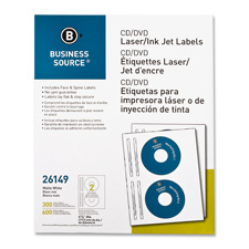 Cd/dvd labels, laser/inkjet, 100/pk, white, sold as 1 package, 50 each per package