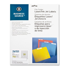 "Filing labels, laser/inkjet, 2/3""x 3-7/16"", 750/pk, white, sold as 1 package, 300 each per package"