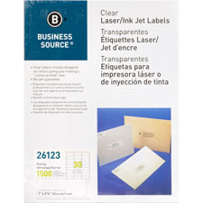"Mailing labels, laser, 1""x2-3/4"", 750/pk, clear, sold as 1 package, 2000 each per package"