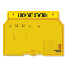 Padlock station, holds 4 safety padlocks, yellow, sold as 1 each