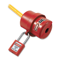 Electrical plug lockout, circular 240/120 volt plug, red, sold as 1 each
