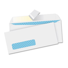 "Peel/seal envelopes, tint/window ,9-3/4""x4"", 500/bx, white, sold as 1 box"