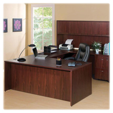 "Bowfront desk shell,72""x36""x29-1/2"",mahogany, sold as 1 each"