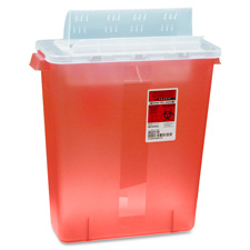 Biohazard sharps container w/clear lid, 3 gallon, red, sold as 1 each