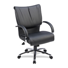 Lorell Lther Mid-back Dacron-Filled Cushion Chair