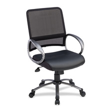 Lorell Mid-back Mesh Bonded Leather Task Chairs