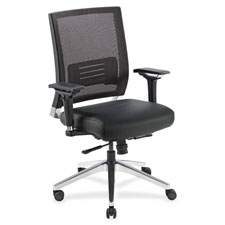 Lorell Executive Mesh/Leather Swivel Chairs