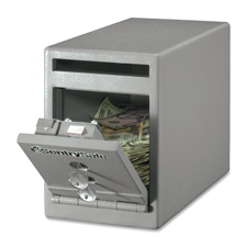 "Safe, drop slot, dual key lock, 6""x12-3/10""x8-1/2"", gray, sold as 1 each"