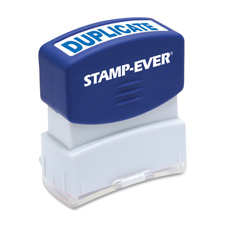 "Stamp, pre-inked, ""duplicate"", 9/16""x1-11/16"" size, blue, sold as 1 each"