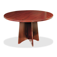Lorell Thermal-Fused Laminate Round Tables w/Base