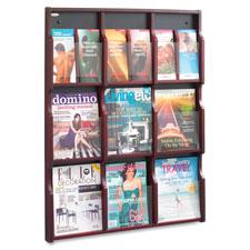 Safco 9 Magazine/18 Pamphlet Wood Literature Rack