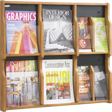 Safco 6 Magazine/12 Pamphlet Wood Literature Rack