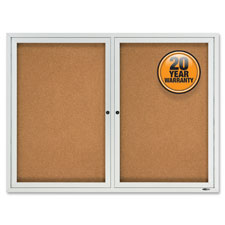 Quartet 2-Door Enclosed Outdoor Bulletin Board