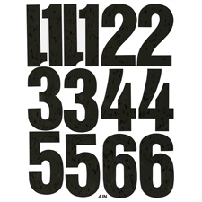 """Vinyl numbers, 4"""", 23 numbers, white, sold as 1 package, 23 each per package"""