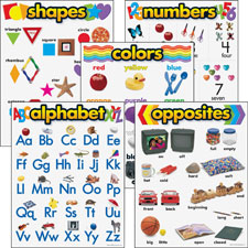 Learning chart combo pack, kindergarten, multi, sold as 1 package, 6 each per package