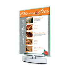 "Swivel sign holder, stand-up, 5""x7"", 6/pk, clear, sold as 1 each"