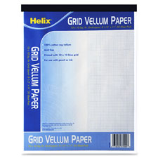 "Vellum paper pad, 10x10 blue grid,8-1/2""x11"", 50 sheets, sold as 1 pad"