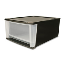 """Stacking drawers,4.25gal,12""""x14-1/4""""x8-3/8"""",4/ct,clear/black, sold as 1 carton"""