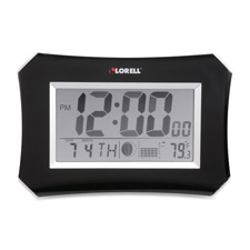 "Wall/alarm clock, lcd, 10-1/4w""x7""hx1-1/2""d lunar, slvr/blk, sold as 1 each"