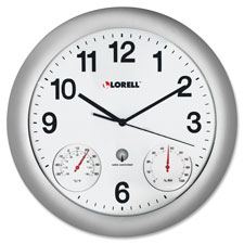 "Analog temperature/humidity wall clock, 12"", silver, sold as 1 each"