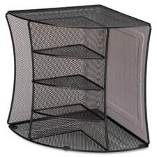 "Corner desk organizer, 10-7/8""x10-7/8""x13"", black mesh, sold as 1 each"