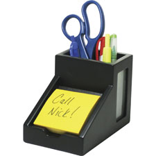 "Pencil cup, w/note holder, 4""x4-3/10""x4-1/2"", white, sold as 1 each"