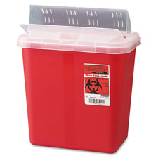 Biohazard sharps container w/clear drop lid, 2 gallon, red, sold as 1 each