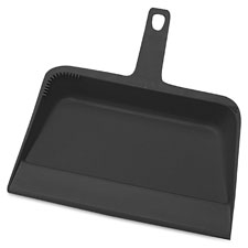 "Dust pan, heavy-duty plastic, 12"", black, sold as 1 each"
