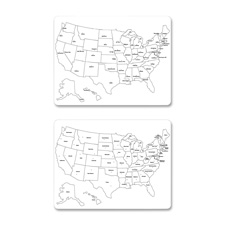 "Whiteboard, usa map, lg, 23-5/8""x18"", 2-sided, 10/ct, we, sold as 1 carton"