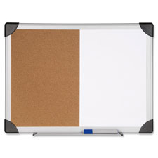 "Combo board, dry-erase/cork, 24""x36"", aluminum frame, sold as 1 each"
