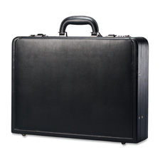 "Leather attache, 17-7/8""x4-1/4""x13"", black, sold as 1 each"