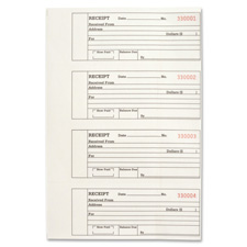 "Receipt book,2-part,4 per pg,10-4/5""x8-1/10"",500/bk, sold as 1 each, 10 each per each"