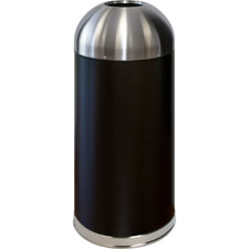 Trash receptacle, domed top, 15 gal., black/silver, sold as 1 each