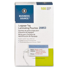 """Laminating pouches,luggage tag,5 mil,2-1/2""""x4-1/4"""",100/bx,cl, sold as 1 box"""
