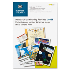 "Laminating pouch, menu, 11-1/2""x17-1/2"", 5mil, 100/bx, clear, sold as 1 box"