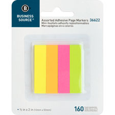 "Page markers, 5/8""x1-7/8"", 160 strips/pk, assorted neon, sold as 1 package"