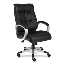"""Exec leather chair, classic, 27""""x32""""x44-1/2"""", black/silver, sold as 1 each"""