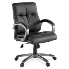 "Executive chair, leather, low-back, 27""x32""x41"", bk/silver, sold as 1 each"