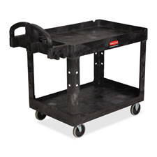 "Utility cart, 2-shelf, w/lip, hvydty, 26""x55""x33-1/4"", bk, sold as 1 each"